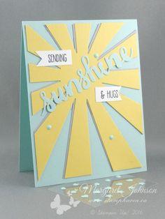 Sunshine card featuring Sunburst Thinlit, Sunshine Sayings stamp set and Sunshine Wishes Thinlits - © Stampin' Up! - Design by Margaret Johnson - Canadian Independent Stampin' Up! Demonstrator