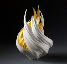 Jennifer McCurdy: Gilded Vortex Vessel Ceramic art