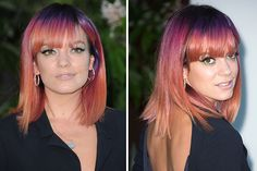 15 Citrus-Hued Hairstyles for Girls Daring to Go Orange via Brit + Co. |  Lily Allen's Sunset Hair: The Sheezus singer's fade from purple to peach is as snap-worthy as a blazing sunset.