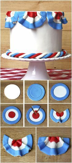 Add Some Pizzazz to your Patriotic Cake! Check out this step-by-step instruction on making festive fondant bunting.