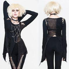 Sexy Black Long Sleeve Asymmetrical Emo Gothic Tunic Tops Women SKU-11409450