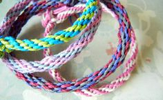 So fun and easy - hemp bracelets made on a Kumihimo braiding disk.