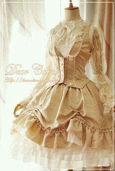Tan/ blouse/ white/ vest/ skirt/ long-sleeves/ ruffles/ bows