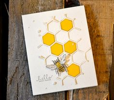 Stampin' Up! Hello Sweet Friend card made with the Six-Sided Sampler (130956) and Hexagon Hive die (132965) #bee #hexagon