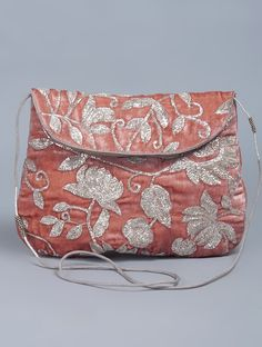 Buy Pink Silver Zari Embellished Velvet Sling Bag Accessories Bags & Belts Börte Colorful Hand Embroidered Kurtas Dupattas More Online at Jaypore.com