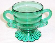 Indiana Depression Glass Teal CHRISTMAS CANDY 3 1/4 Inch High Footed Sugar Bowl