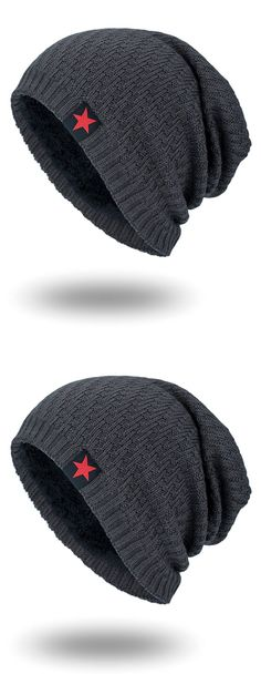 f8f88ba9923 Star Label Embellished Stripy Thicken Knit Hat Mens Beanie Hats