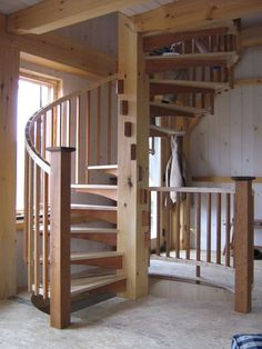 x Timber Frame Cabin with Spiral Staircase Painted Staircases, Curved Staircase, Staircase Design, Staircase Ideas, Diy Dream Home, Dream Homes, Timber Frame Cabin, Timber Frames, A Frame Cabin Plans