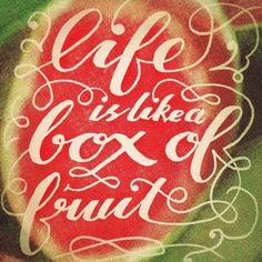 Life is like a box of fruit #bettersayings #brushscript #veganlife #watermelon @rebeccafeinerdesign