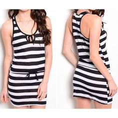 """✳️ SALE ✳️ Black & white swim cover Sz large cute black white stripe swim cover  Large   Large bust 36-38 waist up to 34 hips up to 36  Total length shoulder seam down 30"""" Waist has cinch self tie with elastic back (waist measurement taken not cinched)  NWT  light weight  T-back style  60% cotton 40% polyester Swim Coverups"""