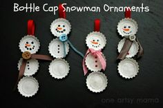 A cute bottle cap DIY christmas tree decorations