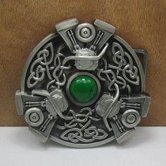 Fashionable Green Button Shape Embellished Alloy Belt Buckle For Men