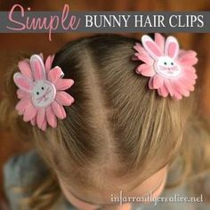 Little girls will love wearing these bunny hair clips for Easter, and they are SO easy to make! by lottie