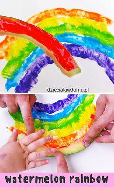 tęcza z arbuza - pomysł na pracę plastyczną dla dzieci / watermelon rainbow  #kidscrafts Summer Crafts, Kids Crafts, St Patrick, Watermelon, Rainbow, Activities, Rainbows, Day Care, Crafting
