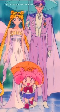 Neo-Queen Serenity, King Endymion and Small Lady - Sailor Moon anime