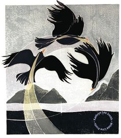 "Kathryn Lee Smith - white line print ""Spirit Dance,"" c.2003"