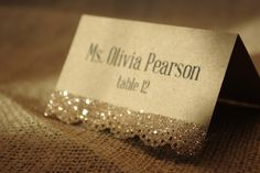 Sparkly Lace Place Card by BlissBridalGifts on Etsy https://www.etsy.com/listing/151216733/sparkly-lace-place-card