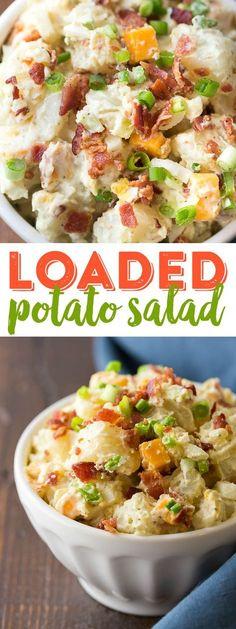 Loaded potato salad recipe loaded ranch potato salad bacon potato s Bacon Ranch Potato Salad, Loaded Baked Potato Salad, Bacon Ranch Potatoes, Potato Salad With Egg, Bacon Potato, Southern Potato Salad, Potato Diet, Roasted Potatoes, Easy Salad Recipes