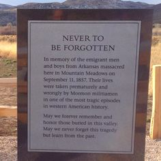 Mountain Meadows Massacre monument in Southern Utah.  My father met one of John Doyle Lee's grandsons. (Lee was the only man to be executed for his participation in the massacre. I still have his biography, signed by said grandson), and the old man relayed how Lee was a scapegoat and sacrificed for many higher-up's in the Mormon Church.  Indeed, he was...a dark and shameful secret in Mormon history.
