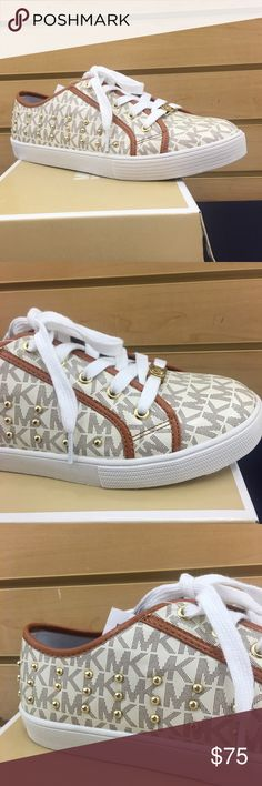 Authentic MIchael Kors Medici Sneakers Brand new, in box Michael Kors Ivory Medici walking sneakers.  Beautifully adored with gold-tone studs placed neatly on the outside of  each sneaker.  Sneakers also are leather-trimmed. Michael Kors Shoes Sneakers