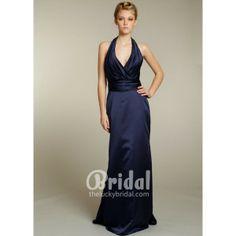 Draped Halter Neckline Indigo Satin Floor Length A-line Long Evening Dress. #Halter, #Vneckline, #Empire, #Purple, #Evening, #Dress. Only $224.00