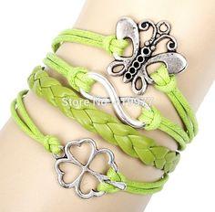Couple Bracelet Handmade Alloy Vintage Infinity Butterfly Clover Leather