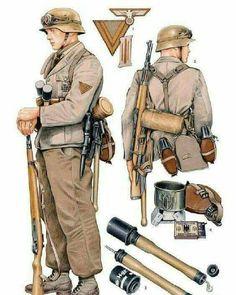Afrika Korps Infantry uniform and gear. Military Weapons, Military Art, Military History, Ww2 Weapons, German Soldiers Ww2, German Army, Nagasaki, Hiroshima, Modern History