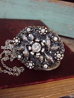 Vintage Style Locket Long Necklace Embellished Rhinestones Engraving Antique Silver, $32.99