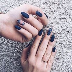 36 Perfect and Outstanding Nail Designs for Winter dark color nails; nude and sparkle nails; Dark Color Nails, Dark Blue Nails, Navy Nails, Nail Colors, Gradient Nails, Holographic Nails, Stiletto Nails, Coffin Nails, Neutral Colors