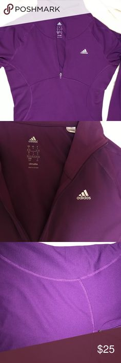 NWOT Adidas quarter zip long sleeve Climalite adidas long sleeve quarter zip. It is more of a rich purple that the photos show. adidas Tops Tees - Long Sleeve