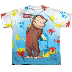 Behold the Curious George - Paint All Over Sublimated Youth T-Shirt. Now you can be part of the hype with this dye sublimated, officially licensed sublimated youth t-shirt made of 100% polyester. This