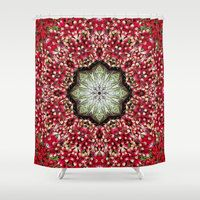 Red Botanical mandala shower curtain, color photography, farmer's market, red radishes, local produce, home decor, bathroom decor by RVJamesDesigns on Etsy