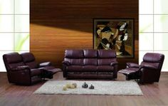 "New 3pc Traditional Recliner Leather Sofa #AM-913-B-BROWN by UTM. Save 44 Off!. $2799.00. * All of the seats and backs are high density (1.9) foam to give comfort and support. * It is made of 100% selected premium soft bonded leather WITH RECLINER. * All corners are "" blocked"", nailed and glued for strength and durability. UTM 3 pcs contemporary modern leather sofa set will include ONE sofa + ONE love + ONE CHAIR. * Solid wood frame use in the sofa construction. Available Col..."