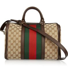 Gucci Leather Trimmed Monogrammed Canvas Tote Handbag Classic It Bags
