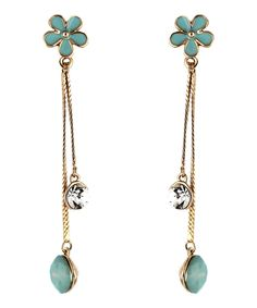 Le Petite Princess Turquoise Daisy Drop Clip On Earrings