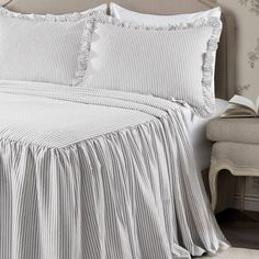 Lush Decor sells a variety of stylish bedding sets for all ages, such as the Ticking Stripe Bedspread Set online. To view our selection, head over to our website now! Big Girl Bedrooms, Guest Bedrooms, Girls Bedroom, Bedroom Decor, Guest Room, Bedroom Ideas, Bedroom Fun, Shabby Bedroom, Extra Bedroom