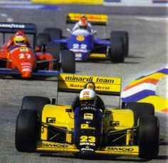 1986  Andrea de Cesaris, Minardi Team  Minardi M185B, Motori Moderni 1.5 V6T, Pirelli  LXXII Grand Prix de France, Paul Ricard, Le Castellet - França