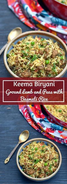 A quick and easy, can't go wrong with it – kinda recipe for Keema Biryani with ground lamb and peas. This will soon become the go-to biryani recipe in Curry Recipes, Beef Recipes, Cooking Recipes, Healthy Recipes, Rice Recipes, Cooking Tips, Easy Lamb Recipes, Lamb And Rice Recipe, Indian Food Recipes