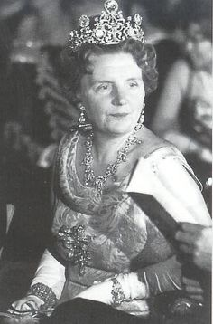 Queen Juliana wearing the stunning Stuart Diamond tiara. Queen Emma's Van Kempen necklace was dismantled to create this beautiful tiara.