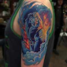 "Jessica Poole- ""Did this Mufasa tattoo today!!! This one was a lot of fun! Keep the Disney coming! Have a safe and good night y'all! ✌️"""