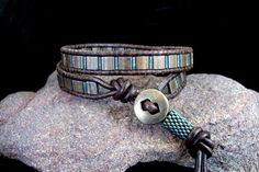 Alexandria - Leather Wrap Bracelet with Tila Beads