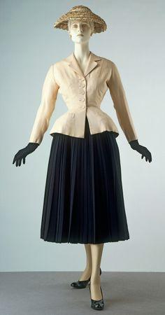 Bar suit by Dior Bar suit & hat Designed by Christian Dior (1905-1957) Paris, France Spring/Summer 1947