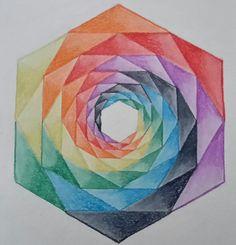 Regenboog kristal ghbb Abstract Pencil Drawings, Geometric Drawing, Art Drawings Sketches Simple, Christina Lorre Drawings, Tessellation Art, Paper Collage Art, Mandala Art Lesson, Design Theory, Math Art