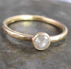 Silver White 4mm Rose Cut Raw Diamond and 14k Yellow Gold Ring - .40 Carat on Etsy, Sold