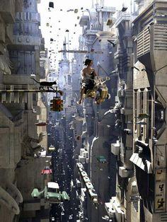 Ik koos deze afbeelding omdat er in het boek gesproken werd over jives. Dit zijn auto's die in de lucht zweven. Het boek gaat vooral over de toekomst.