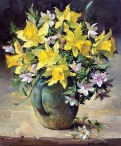 Wild Daffodils and Wood Anemones - Anne Cotterill Art Floral, Gif Rose, Watercolor Flowers, Watercolor Paintings, Image Halloween, Wood Anemone, Image Nature, Flower Artists, Art Folder