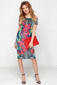 Hot nights out on the dance floor call for a dress you can really shake it in: the Tropic Like It's Hot Tropical Print Off-the-Shoulder Dress! An elasticized neckline rests securely off-the-shoulder above fitted short sleeves and a darted stretch knit bodice. A vibrant tropical print boasts lovely shades of red, green, blue, and indigo throughout the bodycon midi skirt. Unlined. 95% Polyester, 5% Spandex. Hand Wash Cold. Imported.