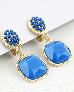 Blue Bead Gemstone Gold Earrings