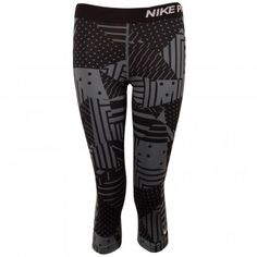 84800aec15d2 Shop Nike Pro Patch Capri Women s Tights Black   Grey at Tony Pryce Sports.
