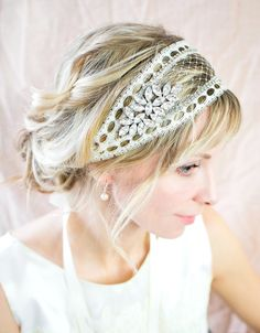 Vintage Bridal Cap Lace Net bridal headband by LottieDaDesigns
